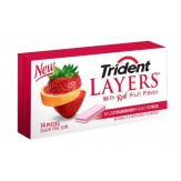 Trident Sugar Free Gum 14 Stick Pack - Strawberry &  Citrus  DATED
