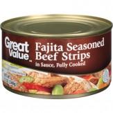 Great Value Fajita Seasoned Beef Strips in Sauce 340g