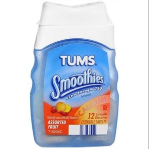 Tums Smoothies Chewable Tablet Assorted Fruit 12 Ct  
