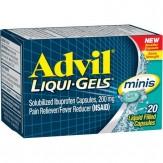Advil Liqui-Gels minis Pain Reliever / Fever Reducer Liquid Filled Capsule, 200mg Ibuprofen, Temporary Pain Relief (20 Ct)
