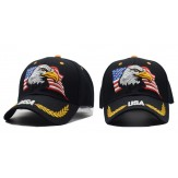 2018 Black Cap USA Flag Eagle Embroidery Baseball Cap Snap back Gold